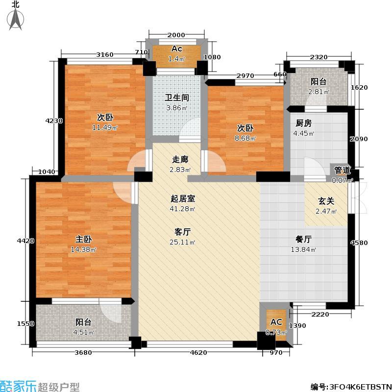 新长江香樟林2号楼寄畅居户型3室1卫1厨