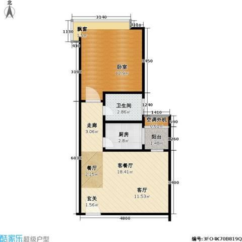 宝安江南城三期御城1厅1卫1厨70.00㎡户型图