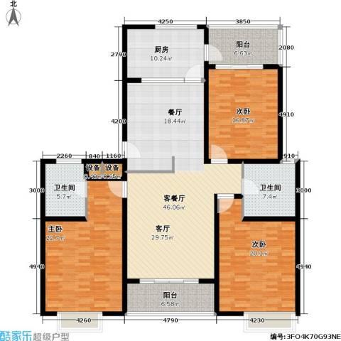 君悦・鹿城一品3室1厅2卫1厨162.00㎡户型图