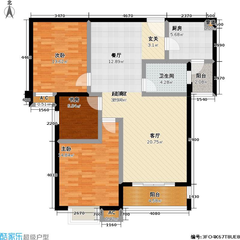 佳海歌林花园B-2户型3室1卫1厨