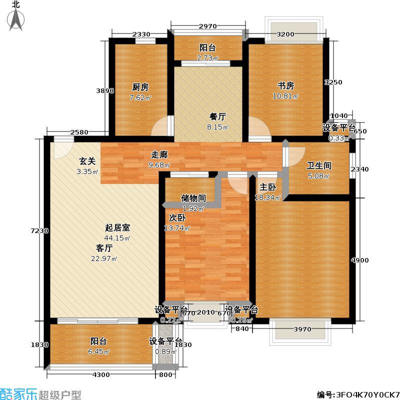 东方名城二期129.00㎡房型: 三房; 面积段: 129 -134 平方米;户型
