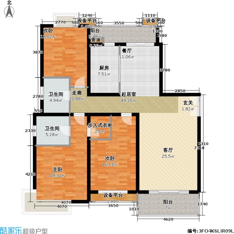 明泉江南苑三房二厅二卫,面积约150-160平方米户型