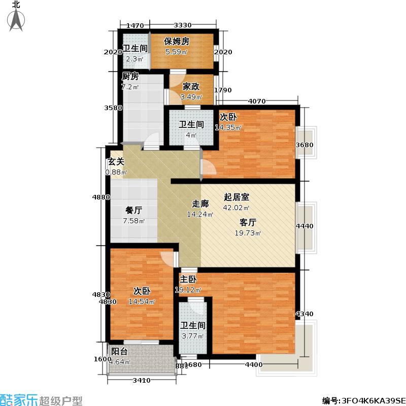 国际 丽都165.00㎡三室两厅三卫户型