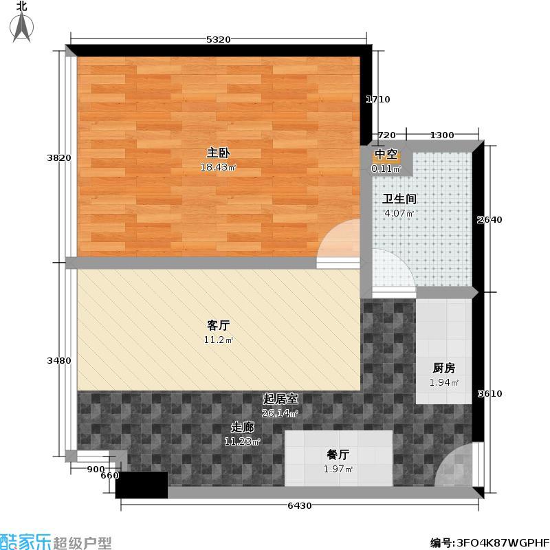 强佑清河新城商业74.48㎡E户型一室一厅一卫户型