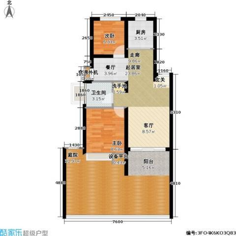 万兆家园五期2室0厅1卫1厨86.00㎡户型图