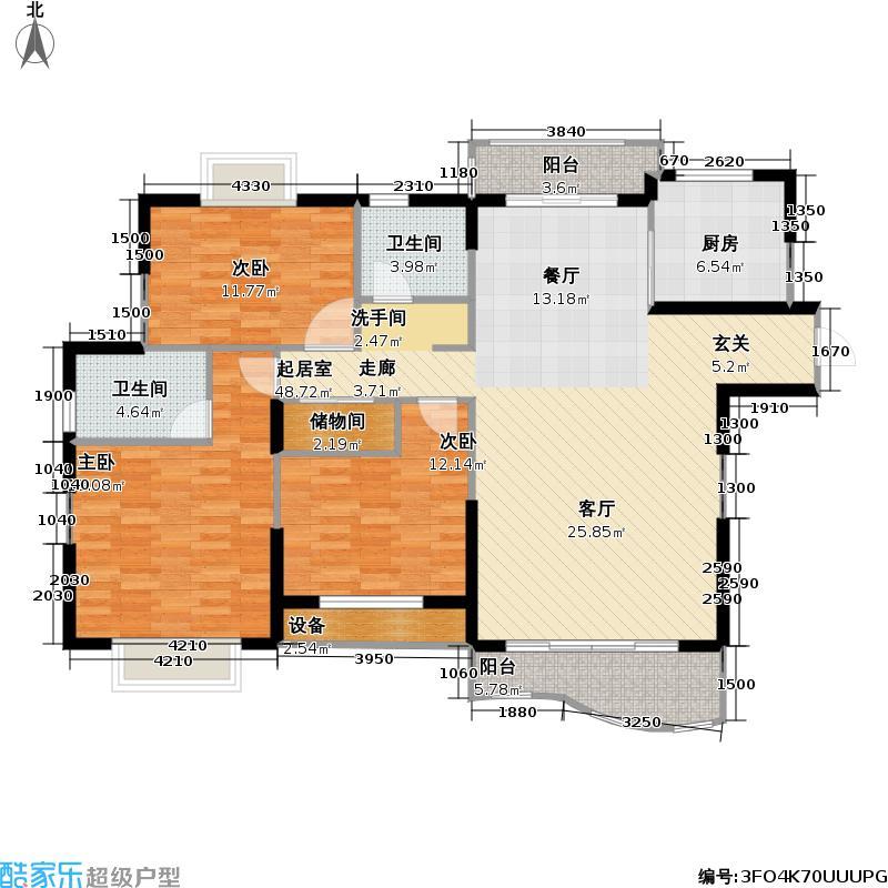 东明家园房型: 三房; 面积段: 135.5 -155.7 平方米; 户型