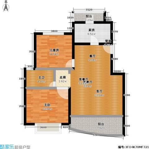 上南春天苑2室1厅0卫1厨88.00㎡户型图