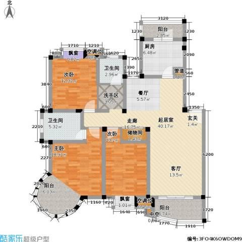 万峰梦湖苑二期3室0厅2卫1厨127.00㎡户型图