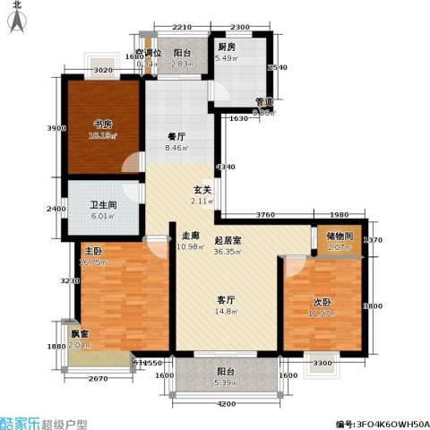 中虹花园锦秀文华3室0厅1卫1厨126.00㎡户型图