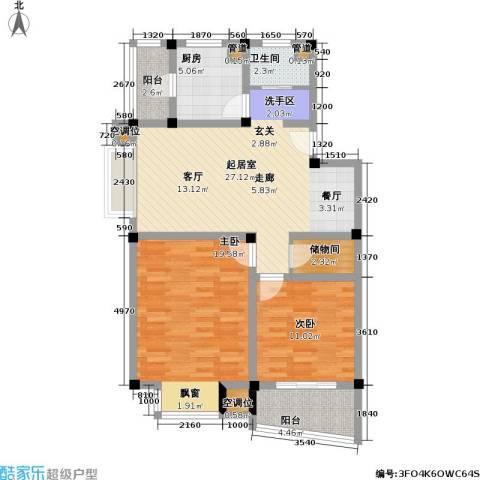万峰梦湖苑二期2室0厅1卫1厨88.00㎡户型图