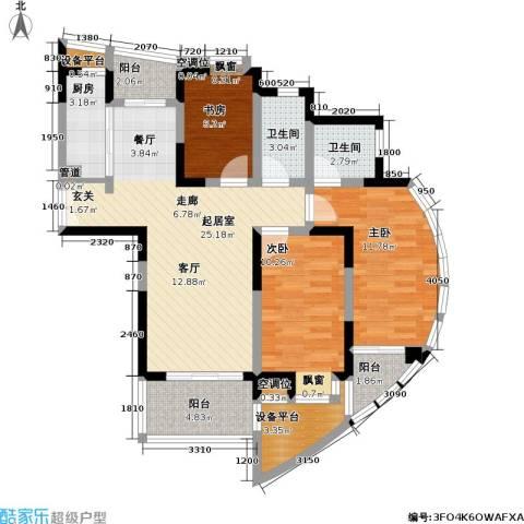 万峰梦湖苑二期3室0厅2卫1厨88.00㎡户型图