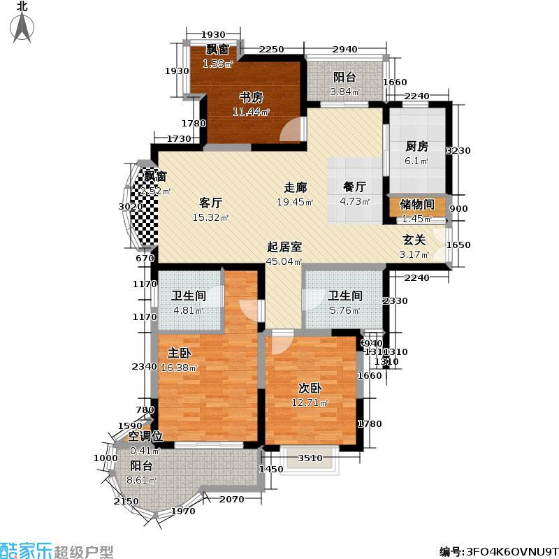 景明花园129.00㎡房型: 三房; 面积段: 129 -145 平方米;户型