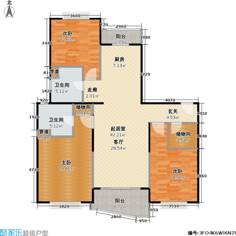 秋月枫舍(一期)房型: 三房; 面积段: 121.43 -134.86 平方米; 户型