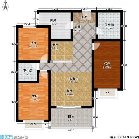 欧美世纪花园3室1厅2卫1厨121.00㎡户型图
