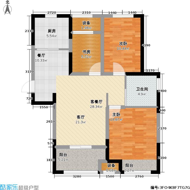 新城清水湾户型3室1厅1卫1厨