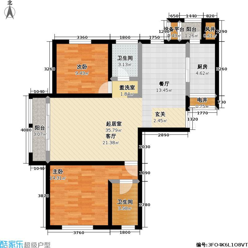 世纪梧桐公寓120.00㎡A型 1号楼 二室二厅二卫户型