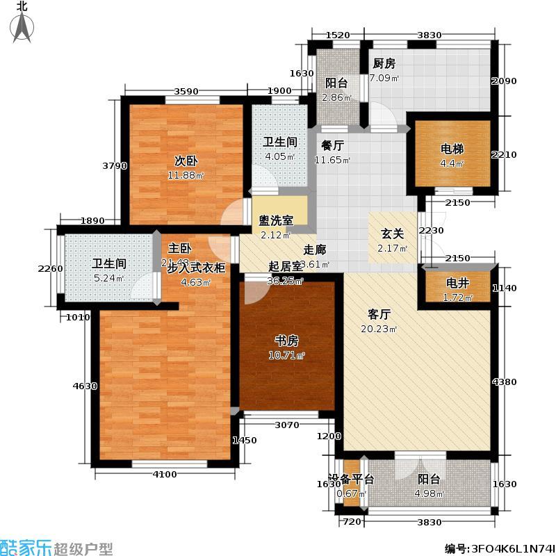 世纪梧桐公寓135.00㎡H型 三室二厅二卫户型