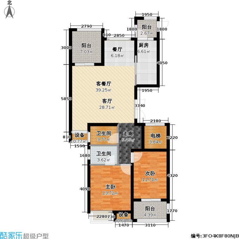 馨河郦舍113.67㎡16#二期J户型 (2+1)房两厅两卫户型2室2厅2卫