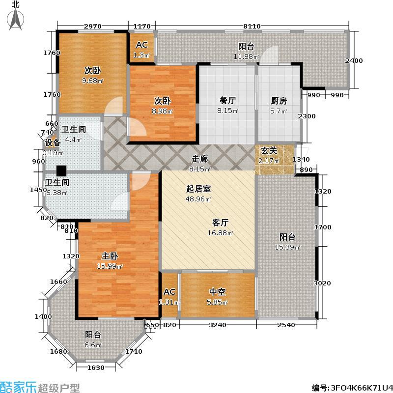 保利中央峰景108.58㎡11+1洋房 10、11号楼7层 C13 2室2厅2卫(实得150平米)户型2室2厅2卫