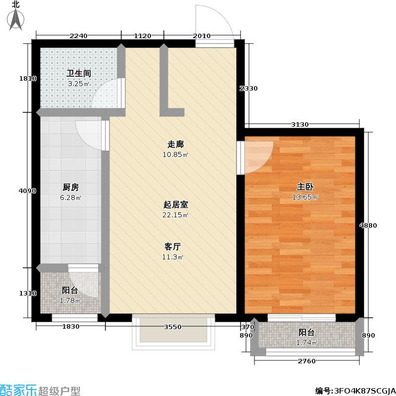 矩阵・天悦64.55㎡17号楼1单元一室户型