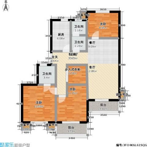 万兆家园二期3室1厅3卫1厨105.00㎡户型图