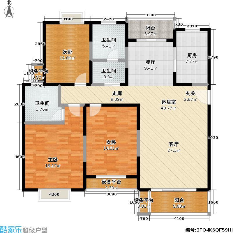 虹桥万博花园一期128.48㎡房型: 三房; 面积段: 128.48 -149.15 平方米; 户型