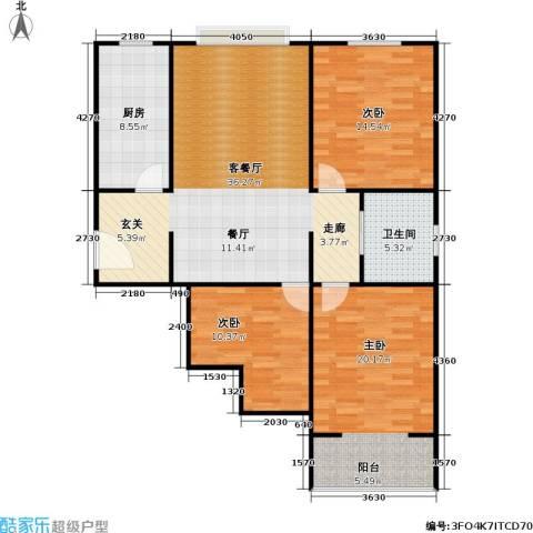 菏泽锦绣中华3室1厅1卫1厨127.00㎡户型图