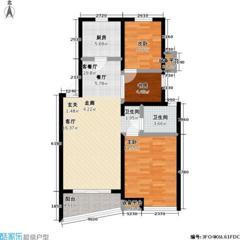万兆家园二期3室1厅1卫1厨85.00㎡户型图