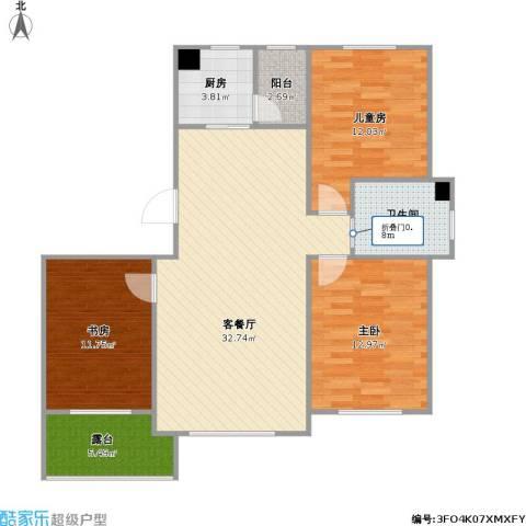 铖裕香榭湾3室1厅1卫1厨117.00㎡户型图