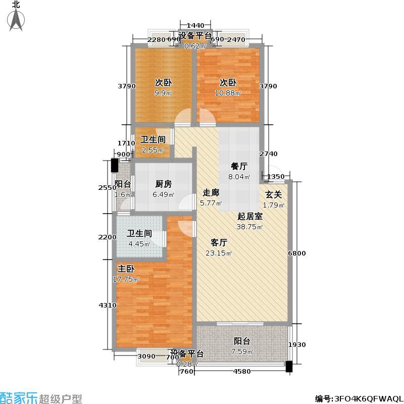 源丰锦绣西苑二期B型三室两厅双卫113.88平方米户型