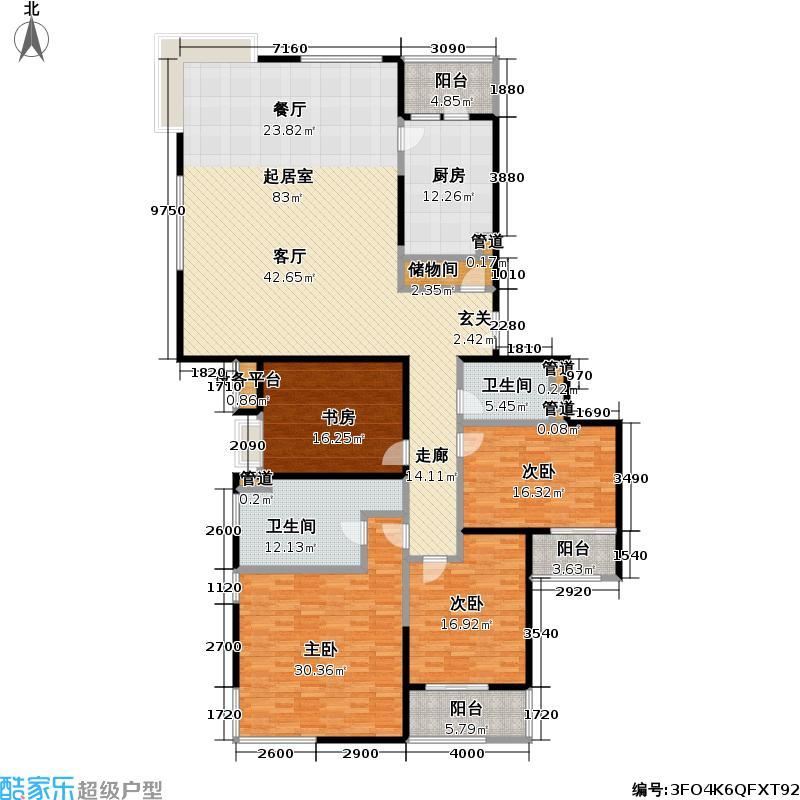 虹桥河滨花园232.97㎡房型: 四房; 面积段: 232.97 -235 平方米;户型