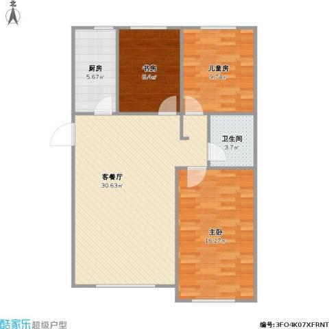 铖裕香榭湾3室1厅1卫1厨100.00㎡户型图