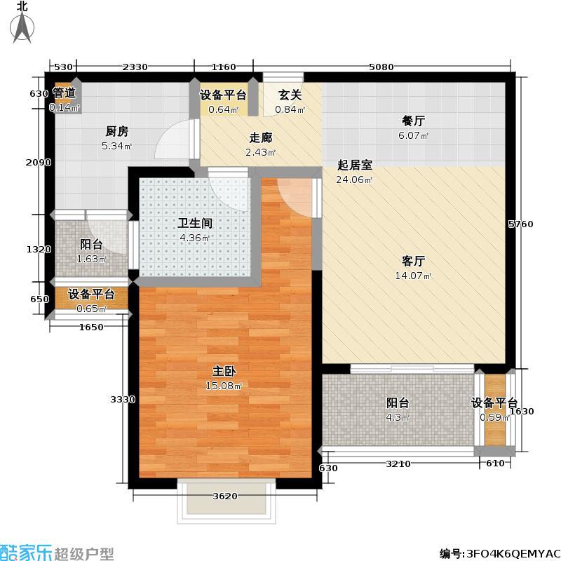 虹桥万博花园一期65.42㎡房型: 一房; 面积段: 65.42 -68.61 平方米; 户型