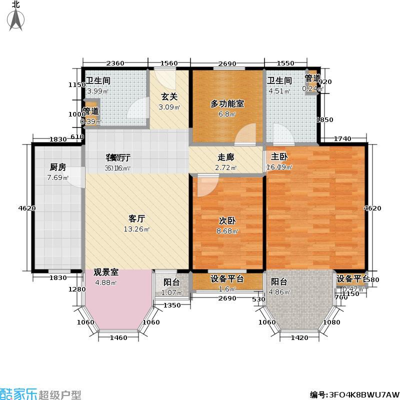 珠江帝景112.99㎡2#3#B户型两室半两厅两卫户型