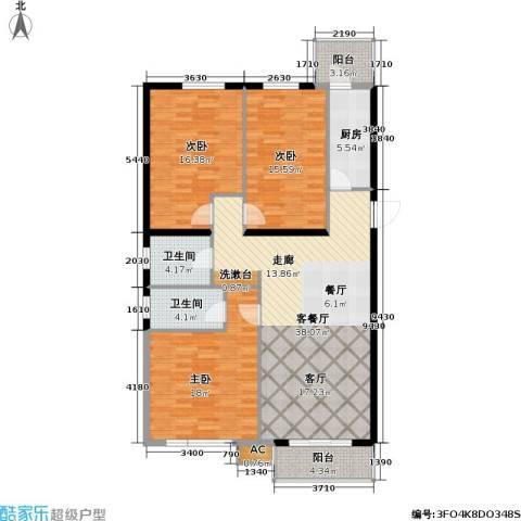 天娇美地3室1厅2卫1厨122.00㎡户型图