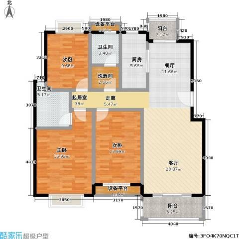 新都花园二期3室0厅2卫1厨120.00㎡户型图