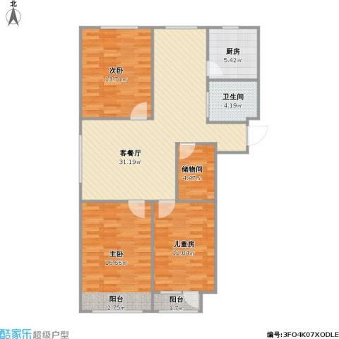 瀚邦凤凰传奇3室1厅1卫1厨120.00㎡户型图