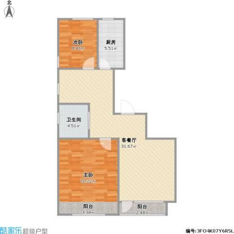 瀚邦凤凰传奇2室1厅1卫1厨98.00㎡户型图