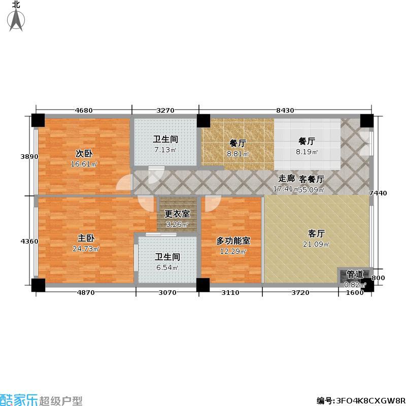 世纪华天・翰林公馆170.00㎡B2户型三室二厅二卫户型