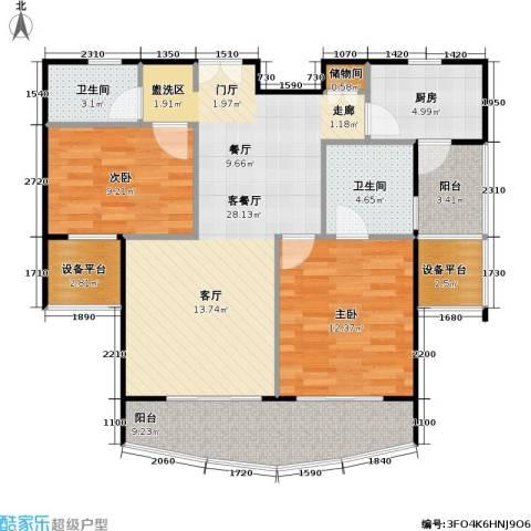 静安丽舍二期2室1厅2卫1厨103.00㎡户型图