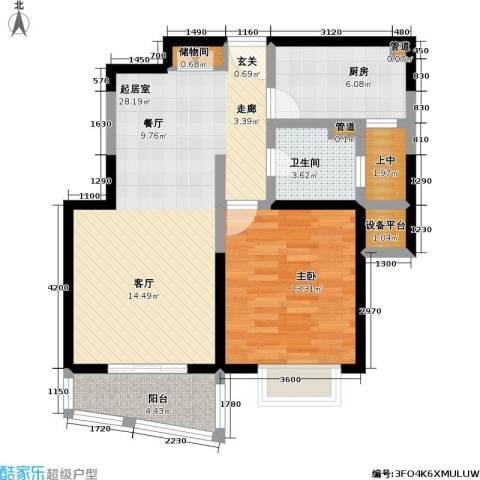 浦发广场1室0厅1卫1厨83.00㎡户型图