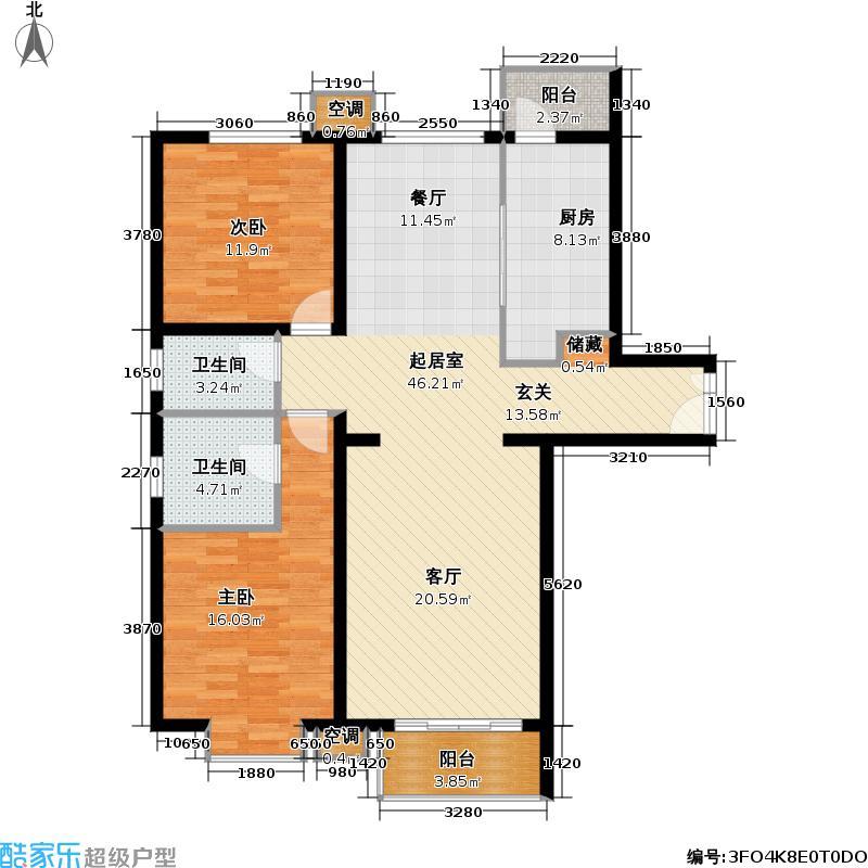 首开知语城128.00㎡B2-3两室两厅两卫户型