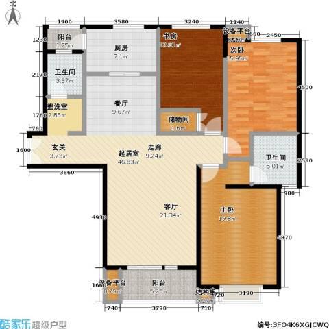 当代曹杨(中关村公寓)3室0厅2卫1厨137.00㎡户型图