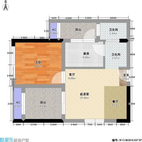 金科蚂蚁SOHO二代1室0厅1卫1厨59.00㎡户型图