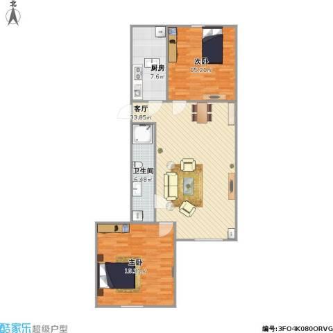 龙锦苑东五区2室1厅1卫1厨110.00㎡户型图