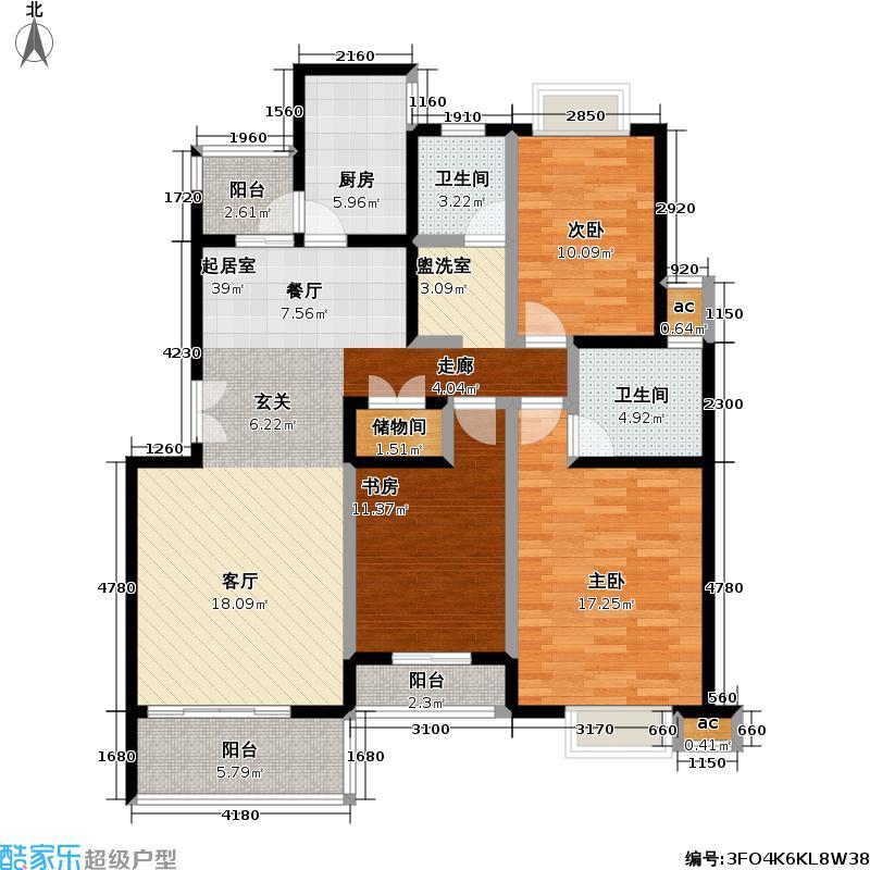 春申万科城五期房型户型3室2卫1厨