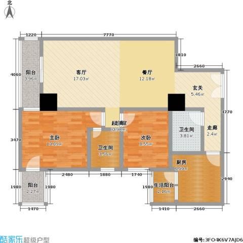 帝都广场・东方曼哈顿2室0厅2卫1厨94.00㎡户型图