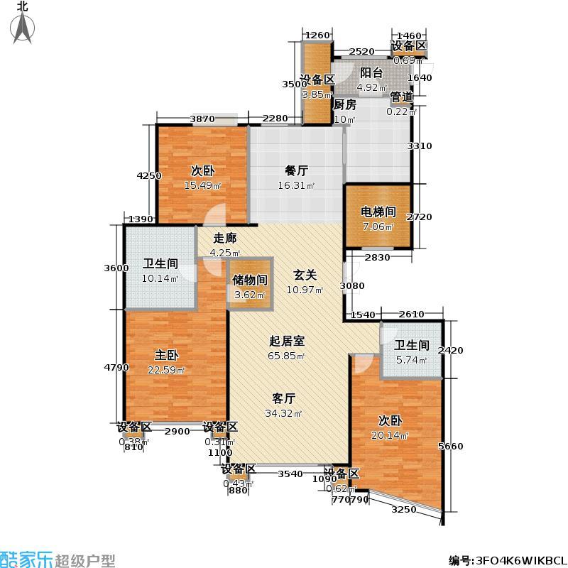 常德大厦169平米三房两厅两卫双南户型