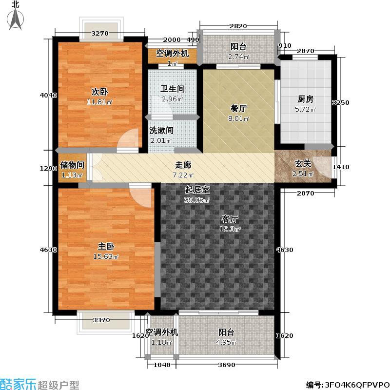 虹桥万博花园二期房型: 二房; 面积段: 104.17 -115.23 平方米; 户型