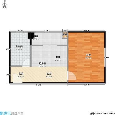 高欣公寓1室0厅1卫1厨50.46㎡户型图